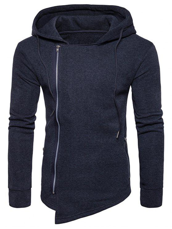 c932f4a2a43 36% OFF  2019 Hooded Drawstring Asymmetric Zip Up Hoodie In DEEP ...