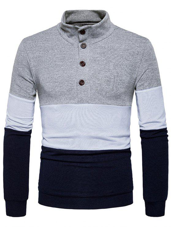 fancy Stand Collar Buttons Color Block Knitted Sweater - LIGHT GRAY L