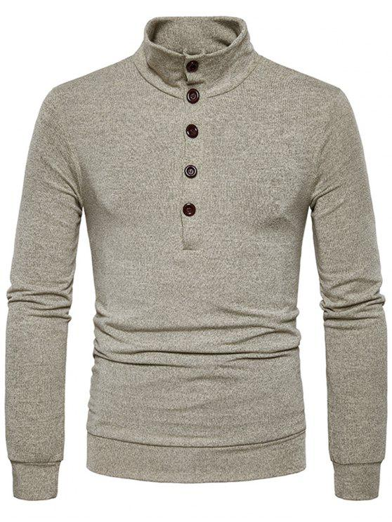 sale Stand Collar Buttons Long Sleeve Knitted Sweater - KHAKI XL