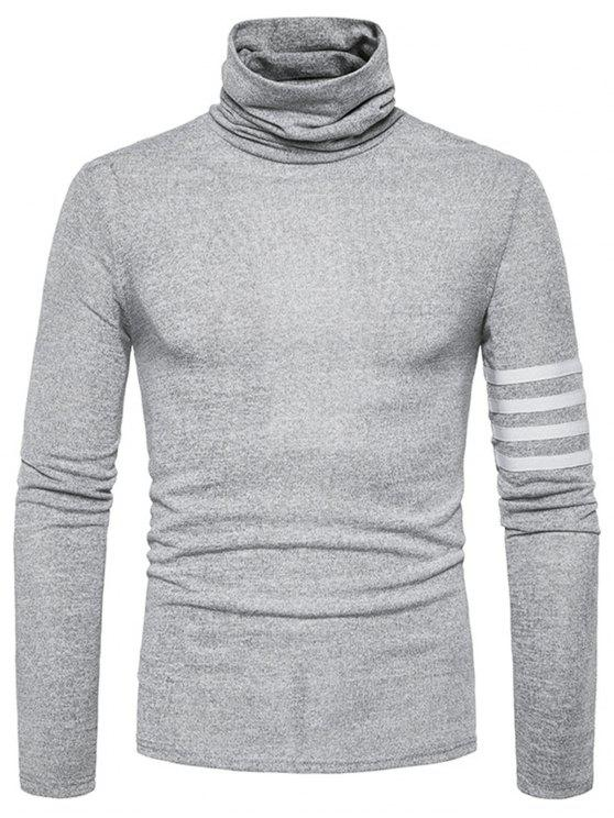Turtle Neck Stripe Stripe Embellished Knitted Sweater - Gris Claro L