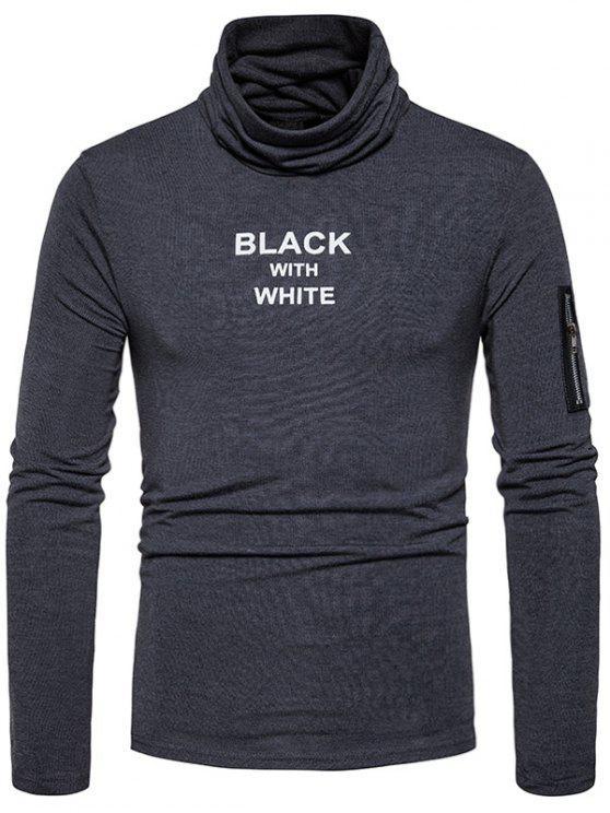Maglietta a manica lunga in chiusura a bottoni con stampa grafica a bottone con cappuccio - Grigio Scuro L
