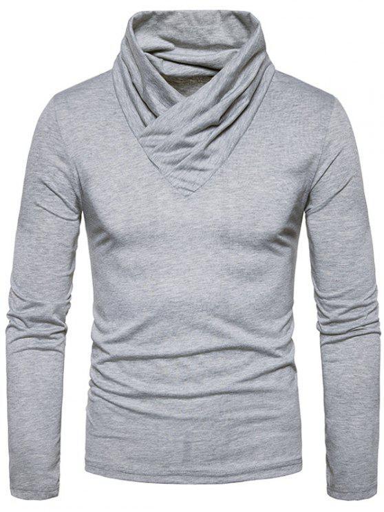 T-shirt classica a manica lunga in cowl collo - Grigio Chiaro 2XL
