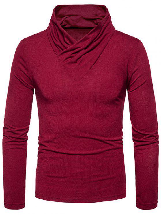Cowl Neck T-shirt clássico de manga comprida - Vinho vermelho M
