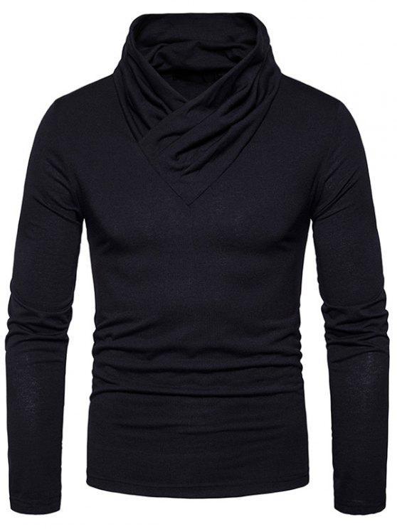 T-shirt classica a manica lunga in cowl collo - Nero 2XL