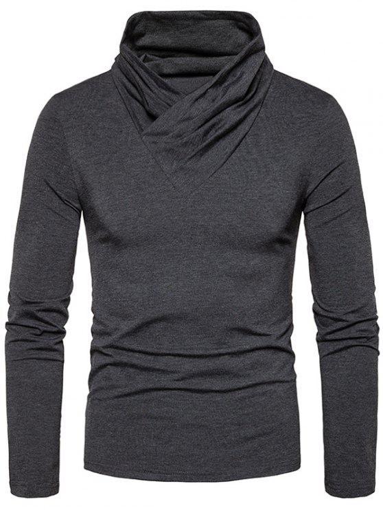 T-shirt classique à manches longues et encolure dégagée - gris foncé M