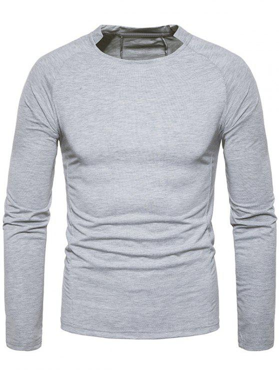 ce880efe8b17 20% OFF] 2019 Crew Neck Classical Raglan Sleeve T-shirt In LIGHT ...
