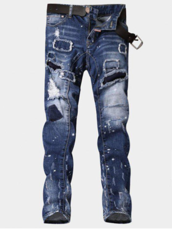 Zipper Fly Paint Print Patch Ripped Jeans - Azul 32