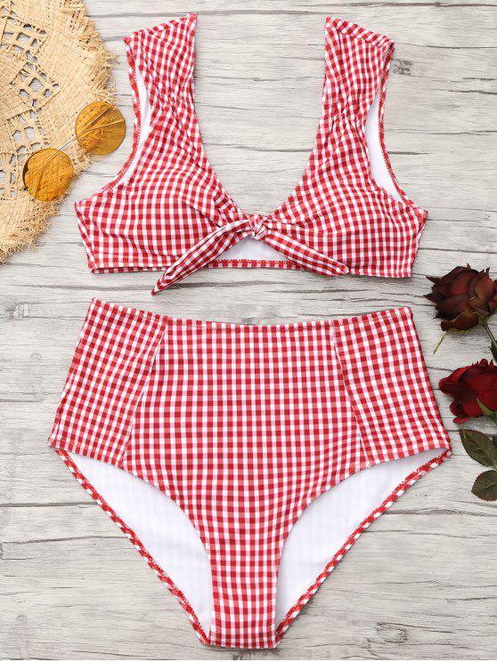 Bikini de cintura alta con lazo a cuadros - Rojo+Blanco S