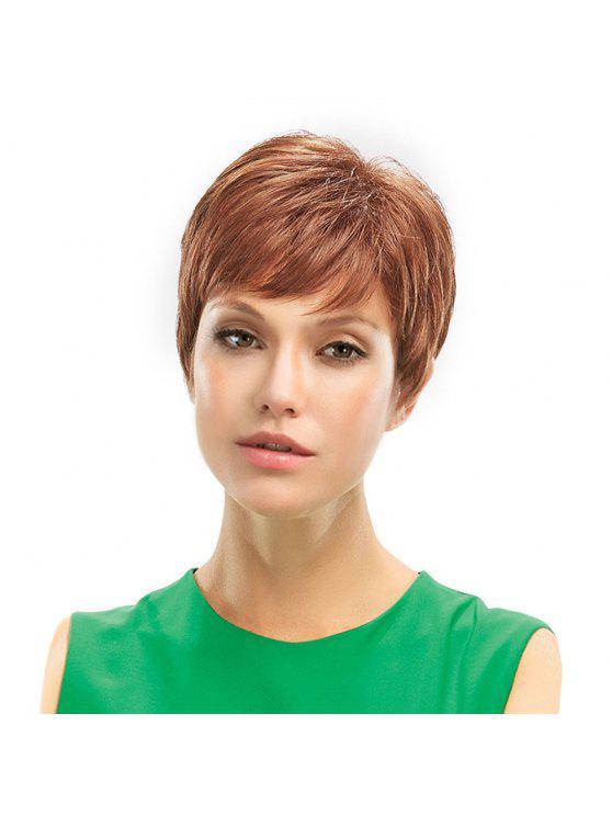 Side Bang Fluffy Short Natural Straight Pixie cabello humano peluca - Marrón Claro