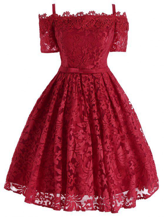 الدانتيل الزهور الباردة بونوت اللباس الرسمي - أحمر M
