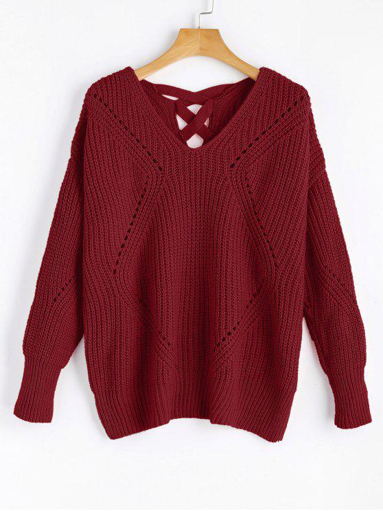 lady Sheer Criss Cross V Neck Sweater - WINE RED ONE SIZE