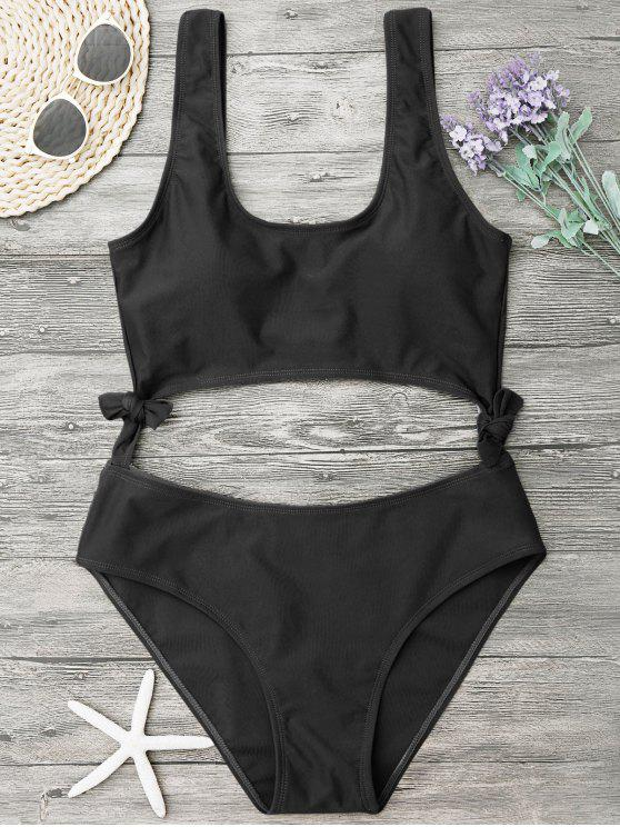 fancy High Leg Cut Out Bowknot Swimwear - BLACK S