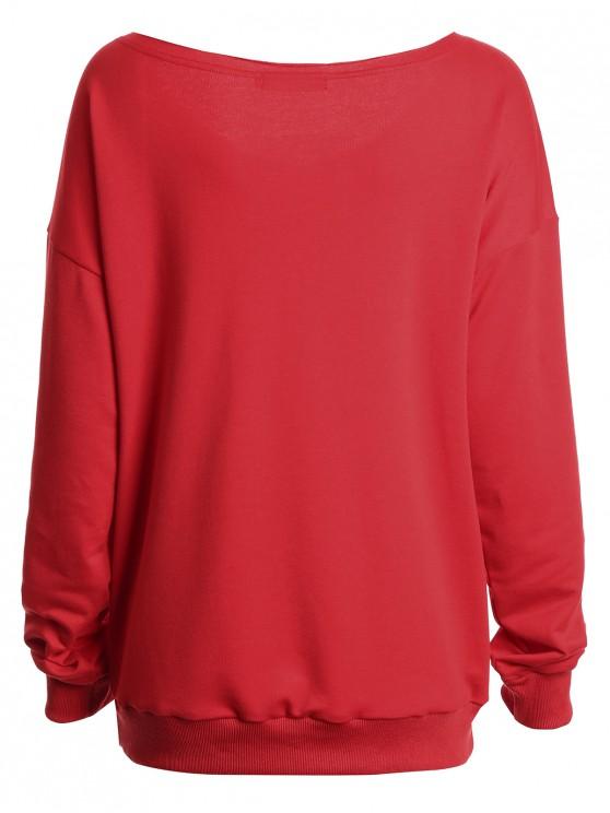 2xl De Sweat Imprimé shirt NoëlRouge Lettre Nue À Épaule Slogan Y6bg7yvf