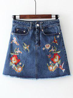 Frayed Floral Embroidered Jean Skirt - Denim Blue S