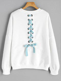 Back Lace Up Drop Hombro Plain Sudadera - Blanco S