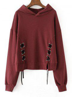 Contrasting Drawstring Lace Up Hoodie - Wine Red S