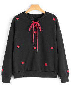 Heart Embroidered Patch Lace Up Sweatshirt - Black M