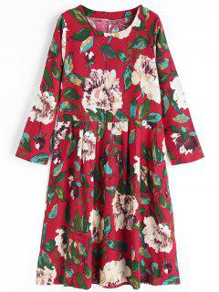 Round Collar Long Sleeve Flower Dress - Red 2xl