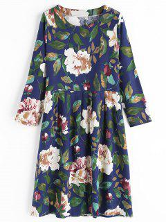 Round Collar Long Sleeve Flower Dress - Blue 2xl