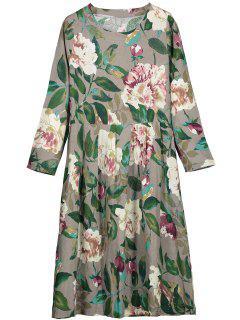 Round Collar Long Sleeve Flower Dress - Gray 2xl