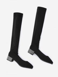 Rhinestone Chunky Heel Thigh High Boots - Black 38