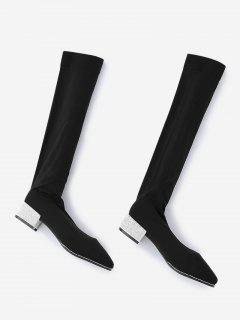 Rhinestone Chunky Heel Thigh High Boots - Silver 36