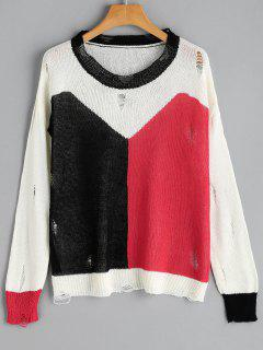 Contrast Ripped Knitted Top - Red With Black