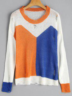 Kontrast-Geripptes Stricktop - Orange + Blau