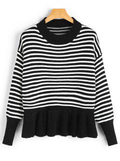 Drop Shoulder Ruffle Hem Striped Sweater - Black