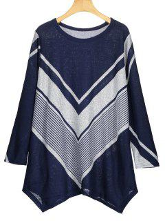 Zigzag Graphic Asymmetric Knitted Top - Blue S