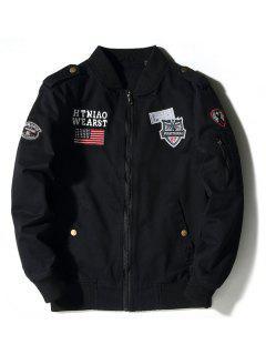 Enbroidered Applique Bomber Jacket - Black L