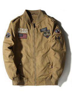 Enbroidered Applique Bomber Jacket - Khaki 4xl