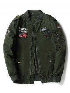 Enbroidered Applique Bomber Jacket - Army Green L