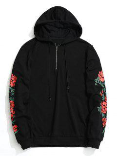 Floral Half Zipper Hoodie - Black M