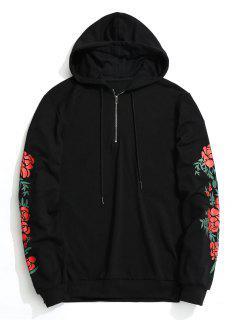 Floral Half Zipper Hoodie - Black S