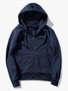 Drawstring Kangaroo Pockets Zip Up Hoodie - Purplish Blue Xl