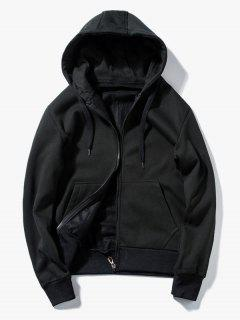 Drawstring Kangaroo Pockets Zip Up Hoodie - Black Xl