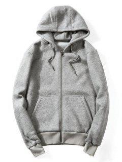 Drawstring Kangaroo Pockets Zip Up Hoodie - Gray L