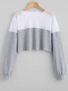 Contrasting Cropped Mesh Panel Sweatshirt - Gray L