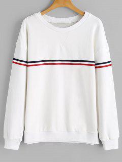 Sweat-shirt Lâche à Rayures - Blanc M