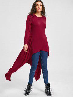 Flowy Longline Asymmetrical Top - Wine Red S