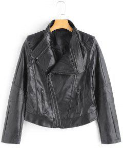 Faux Leather Side Zip Motorcycle Jacket - Black L