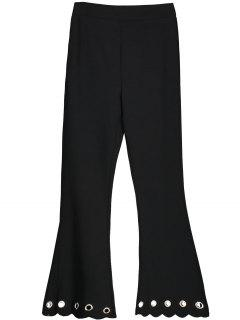 Scalloped Hem Hollow Out Bootcut Pants - Black S