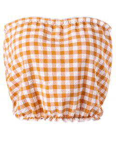 Gingham Tube Top - Orange + White M