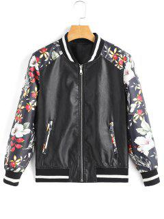 Floral Contrasting Faux Leather Jacket - Black S