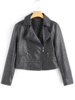 Faux Leather Cropped Motorcycle Jacket - Black S