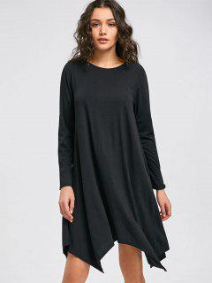 Flowy Asymmetrical Shift Casual Dress - Black S