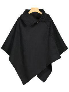 Asymmetric Cape Coat - Black S