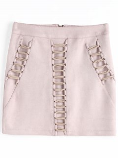 Criss Cross Faux Suede Bodycon Skirt - Nude Pink S
