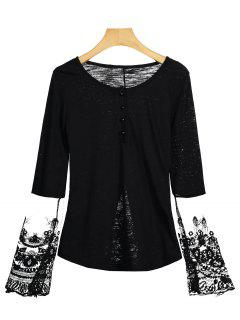Camiseta Con Panel De Medio Botón De Malla - Negro M